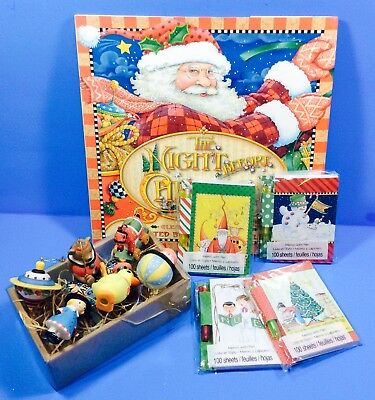 Mary Englebreit Night Before Christmas Book Note Pad & Pen 6 Toy Ornaments LOT