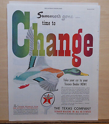 1949 magazine ad for Texaco - Duck flies south, Summer's Gone, oil change time