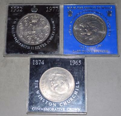 Great Britain 1965 1977 1981 - Lot of 3 Crowns