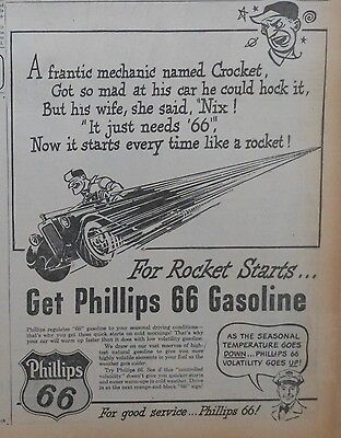 1946 newspaper ad for Phillips 66 gas - funny limerick, For Rocket Starts