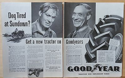 1939 two page magazine ad for Goodyear Tractor Tires - Don't Be Dog Tired