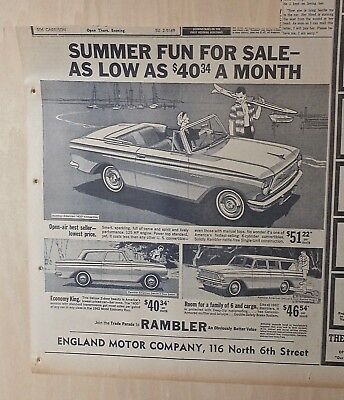 1962 newspaper ad for Rambler - Convertible, American Deluxe wagon & sedan