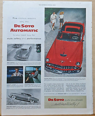 1954 magazine ad for DeSoto - Fire Dome V-8, red convertible, stunning beauty