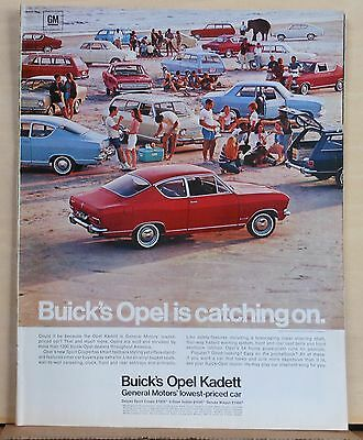Vintage 1967 magazine ad for Opel Kadett - Sports Coupe at the beach, colorful
