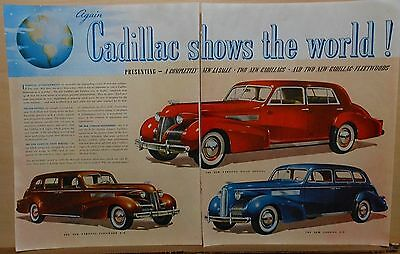 1938 two page magazine ad for Cadillac - Fleetwood, LaSalle, Sixty Special