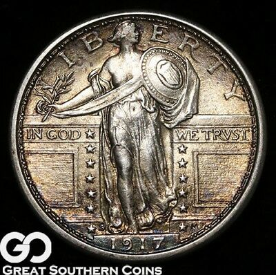 1917-S Standing Liberty Quarter, Type 1, Nicely Toned Choice BU++ Better Date!