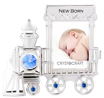 Crystocraft Photo Frame - Train Engine with Blue Swarovski Elements