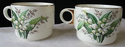 TWO (2) BREXTON  ENGLAND PICNIC CUPS WITH LILY-OF-THE-VALLEY DECORATION 1950s