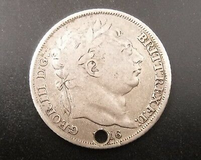 1816 Sixpence : King George III : British Sterling Silver Coin : Holed