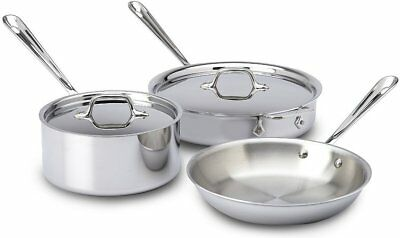 All-Clad 401599 Stainless Steel Tri-Ply Bonded Dishwasher Safe 5-Pc Cookware Set