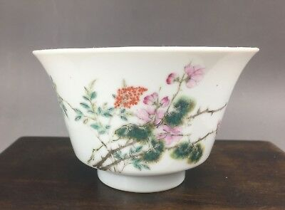 "A very beautiful Chinese 19C famille rose ""prunus"" bowl-Guangxu mark&period"