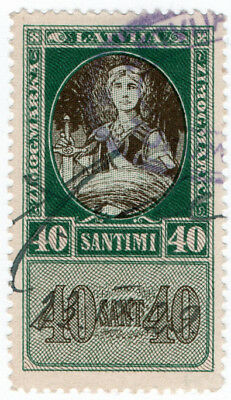 (I.B) Latvia Revenue : Duty Stamp 40s