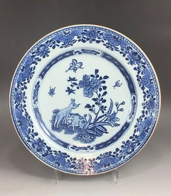 """An extremely rare Chinese 18C blue&white """"double rabbits"""" plate-Qianlong"""