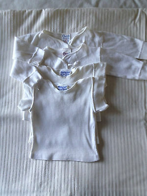 Vintage 4 Babies White Cotton Vests 0-3mths