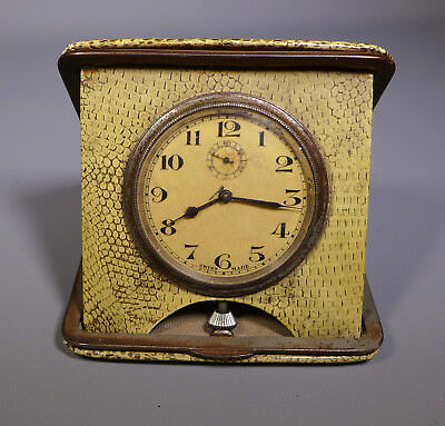 Antique Faux Snakeskin Cased Swiss Made Travel Clock Timepiece Ticking
