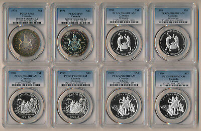 8 Canada Silver Dollars (1971-1990) Pcgs Specimens & Proof Dcam Beauties > No Rs