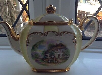 VINTAGE GILDED SADLER CUBE SHAPED TEAPOT ..DESIGN no 1945 Cottage Garden