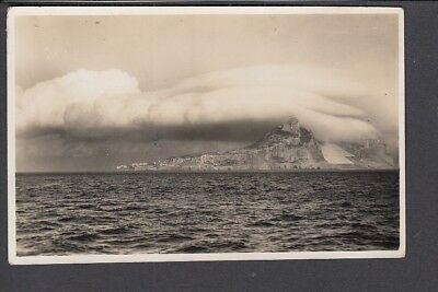 Gibraltar - Clouds over the Rock Photo Taken from HMS Chrysanthemum Postcard