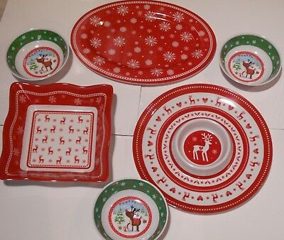 6 x Christmas Dishes,Wave Shaped Bowl,Round Chip 'n' Dip Plate and Oval Platter