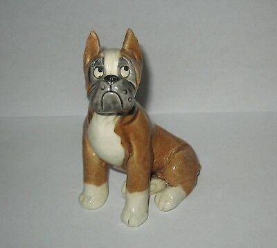 Kathy Wise Original Pottery Seated Boxer Dog Figurine Sculpture