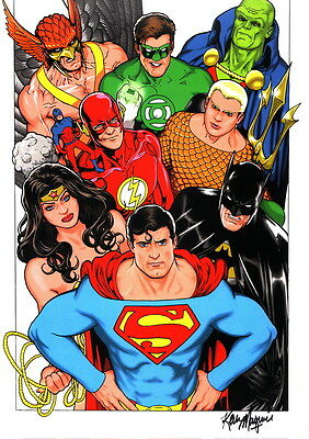 Kevin Maguire SIGNED DC Comic JLA Art Print Superman Batman Wonder Woman Flash