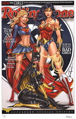 Jamie Tyndall SIGNED DC Comic Art Print Wonder Woman Supergirl Batgirl #117/150
