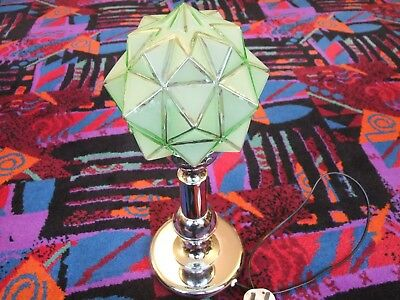 ART DECO CHROME LAMP BASE AND GREEN GLASS STARBURST SHADE 18 inch by 6.5 inch
