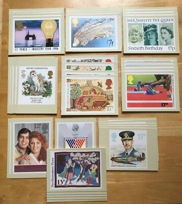 1986 Complete Year Set Of Mint Gb Commemorative Phq Cards 10 Sets