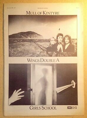 "WINGS ""Mull of Kintyre"" Original 1977 NME Trade/Press Advert Poster PAGE"