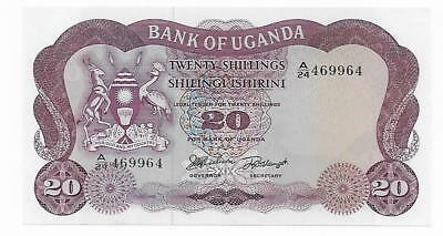 Uganda 20 Schillings Pick 3-A Radar A/24 469964  Gem Crisp Uncirculated