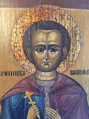 Antique 19th century Tempera Hand painted Russian Icon- St. Boniface