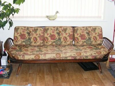 Vintage Ercol day bed sofa with original covers Apx 7ft long