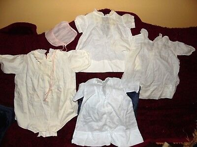 Antique Vintage White Blue Embroidered Bonnet Baby Dress Romper (Doll) 5pc Lot