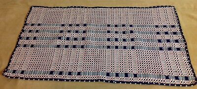 Antique Hand Woven Overshot Coverlet, Wool, Table Runner, Navy Blue, Pink, Ivory