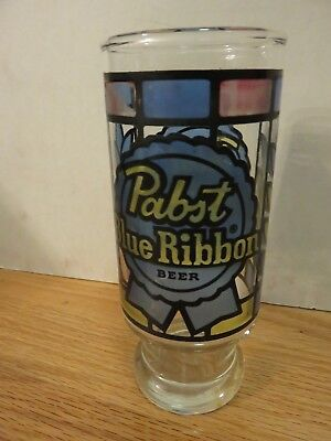 "Vintage PABST BLUE RIBBON ""Stain Glass"" BEER 6.5"" GLASS"