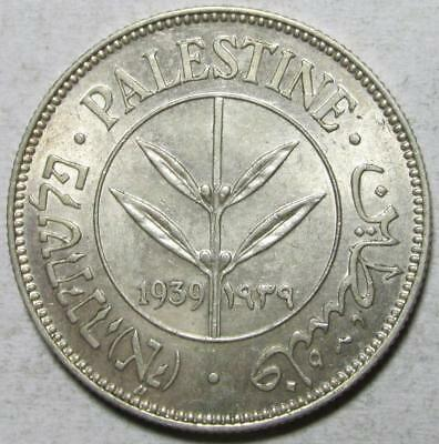 Palestine, 50 Mils, 1939, Uncirculated w/Luster, .135 Ounce Silver