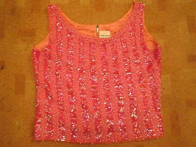 Vintage 60s HAND BEADED evening top/pearls/beads/sequins/party sz 12