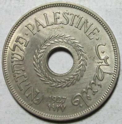 Palestine 20 Mils 1927, Almost Uncirculated Details, Hairlines, Copper-Nickel #1