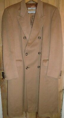Fab Vintage Aquascutum Camel Double-breasted Overcoat 100% Pure Cashmere 42 long