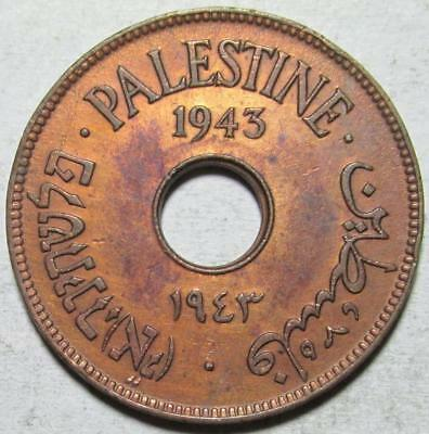 Palestine, 10 Mils, 1943, Extra Fine, Cleaned, Better Date, Bronze