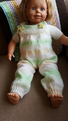 HANDKNITTED DUNGAREES 9-12 mths  NEW