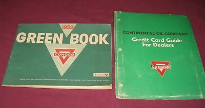 1959 CONOCO DEALERSHIP GREEN BOOK & CREDIT CARD GUIDE / Dealers Gas Station