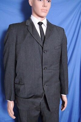VTG '50s Charcoal three button pleated front cuffed MOD suit 45  40.5X30.5