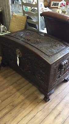 Oriental Chinese Carved Camphor Wood Dome Chest Trunk L41x D20 x H25