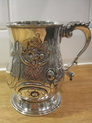 Quality 1852 Victorian Elkington Silver plate Etched Floral Repousse Mug Tankard