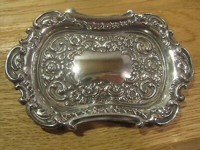 1904 Boots Pure Drug Company Birmingham solid silver repousse pin dish tray -19g