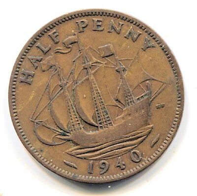 Great Britain 1940 Half Penny Coin - United Kingdom England King George VI