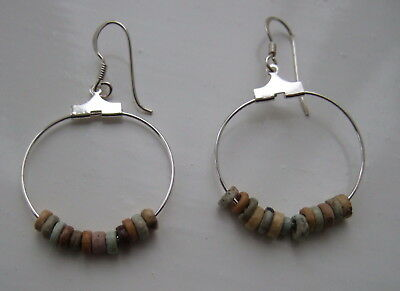 GENUINE ANCIENT EGYPTIAN FAIENCE  BEAD EARRINGS (sterling silver earwires)