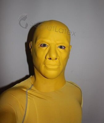 Yellow Latex Thick Rubber Hood Full Head Cosplay Fetish Dress Gas Gimp Male Mask