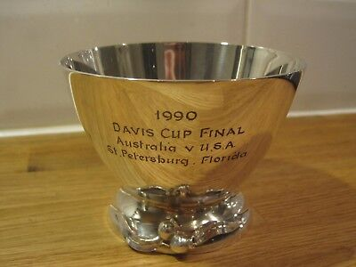 1990 tennis Davis cup final Australia v USA Florida silver plate trophy bowl cup